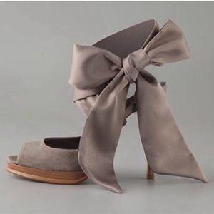 DIANE VON FURSTENBURG silk wrap lace up bow heels
